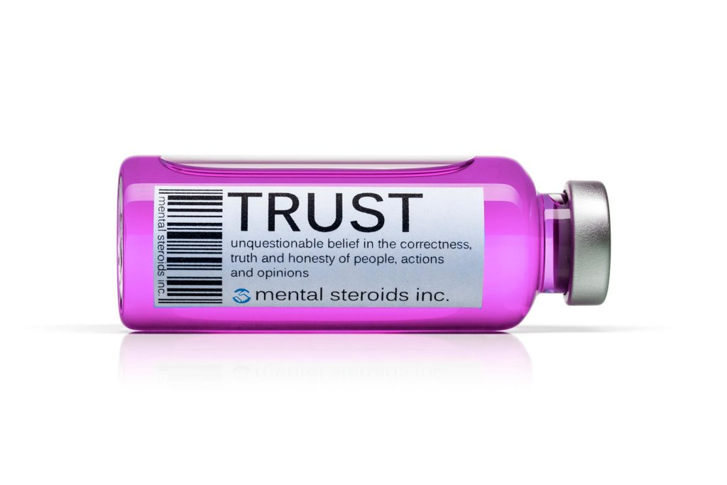 Trust label on a medicine bottle