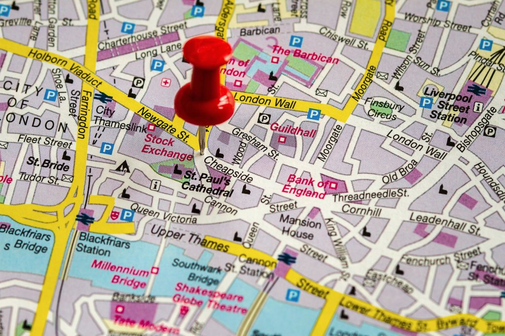 Map of London and a pin