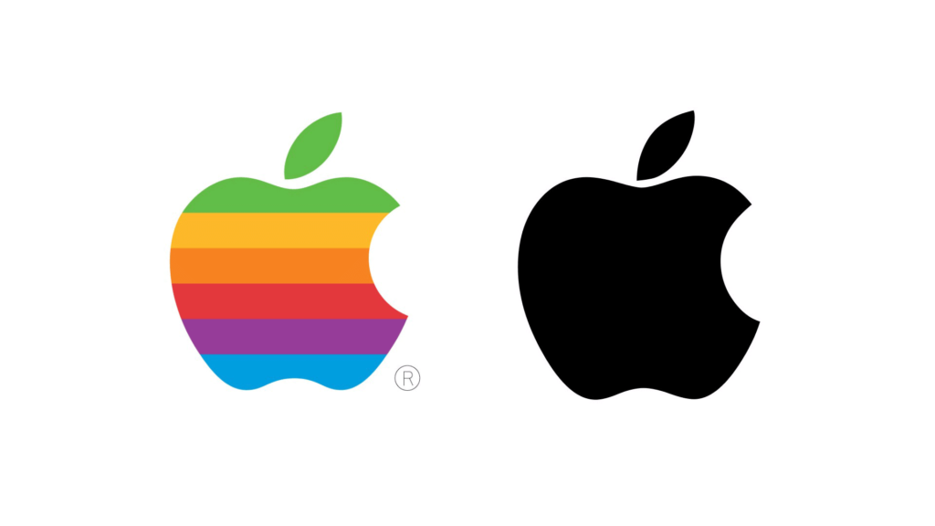 Old and new Apple logos