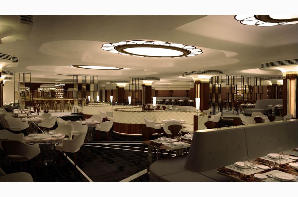 3D restaurant interior render by Grapes Design