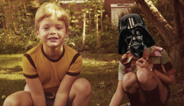 Boy dressed up as Darth Vader