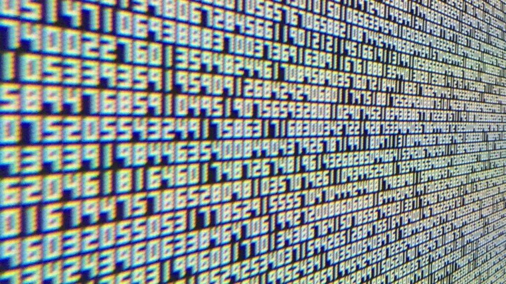 Data stream on computer screen