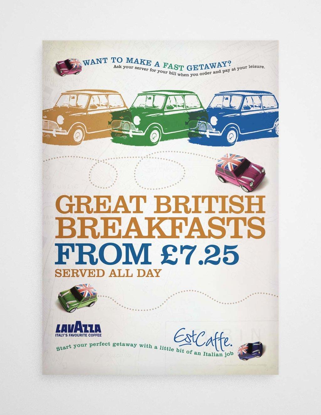 Est Caffe Luton breakfast poster
