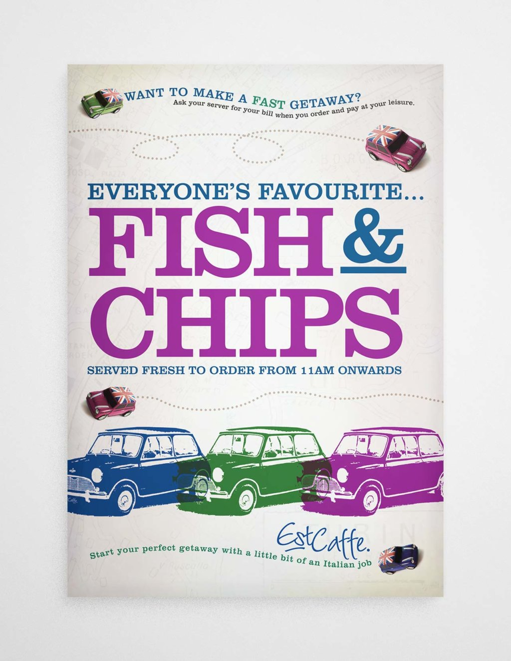 Est Caffe Luton fish and chips poster