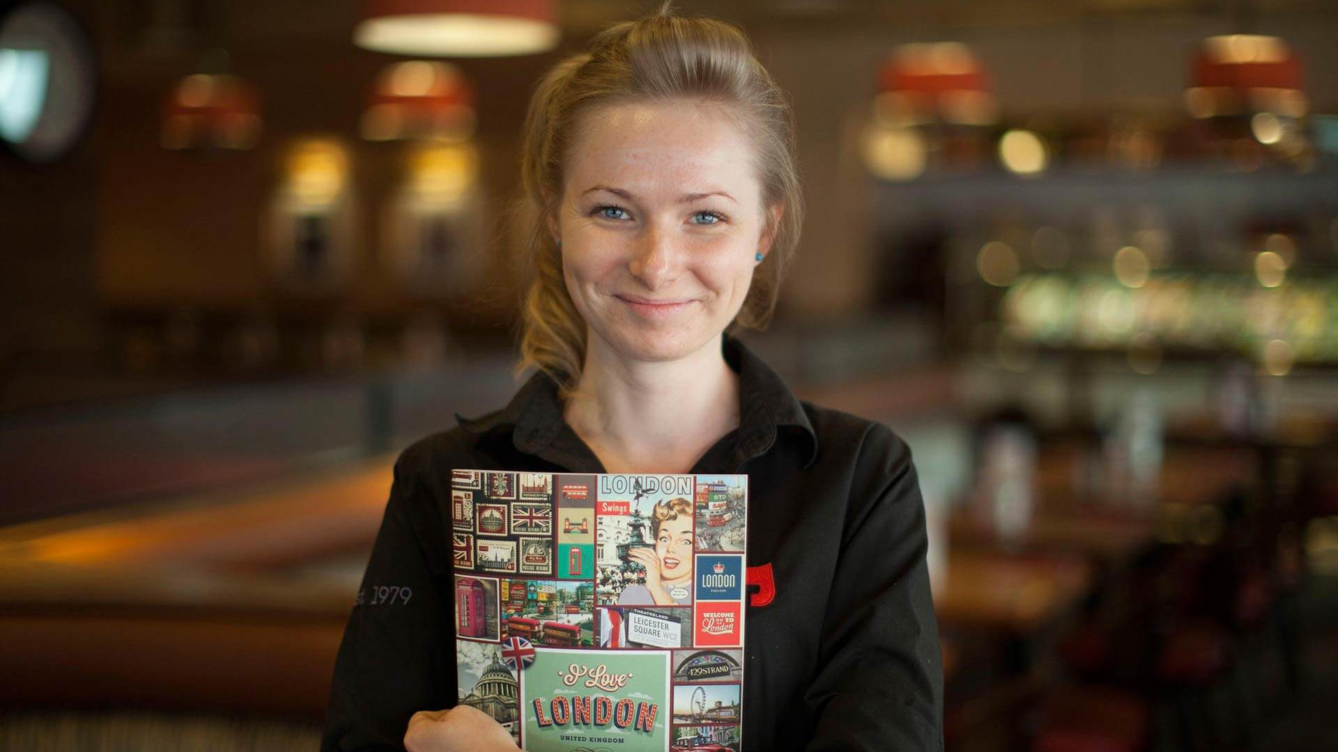 garfunkels waitress holding menu